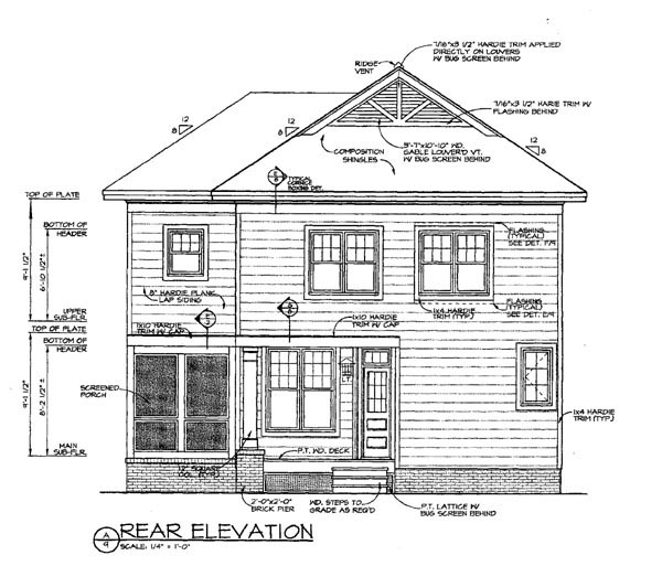 Traditional , Cottage , Colonial House Plan 96956 with 3 Beds, 3 Baths, 2 Car Garage Rear Elevation