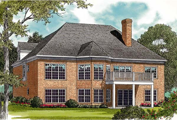 House Plan 96959 | Traditional Style Plan with 3147 Sq Ft, 4 Bedrooms, 4 Bathrooms, 2 Car Garage Rear Elevation