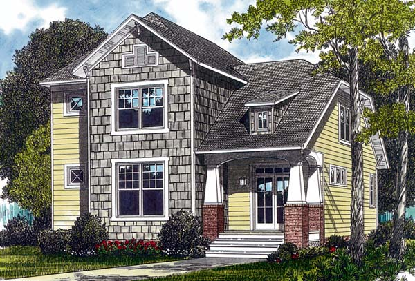 Cottage Craftsman Elevation of Plan 96968