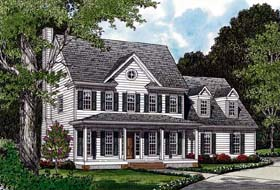House Plan 96978 | Colonial Farmhouse Style Plan with 2203 Sq Ft, 3 Bedrooms, 3 Bathrooms, 2 Car Garage Elevation