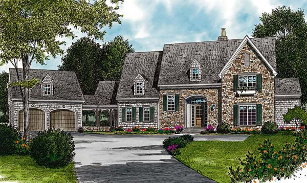 Cottage, European House Plan 97068 with 6 Beds, 6 Baths, 2 Car Garage Elevation