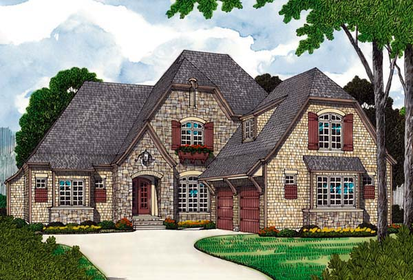 European, House Plan 97070 with 3 Beds, 4 Baths, 2 Car Garage Elevation