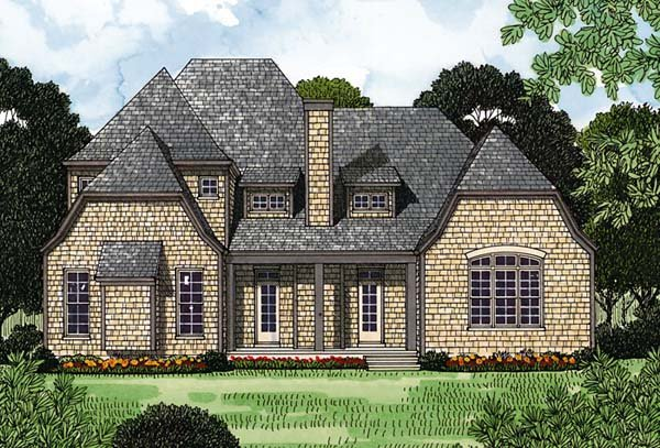 European, House Plan 97070 with 3 Beds, 4 Baths, 2 Car Garage Rear Elevation