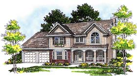 House Plan 97100 | Country Style Plan with 2120 Sq Ft, 4 Bedrooms, 3 Bathrooms, 2 Car Garage Elevation