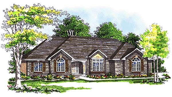 European, One-Story House Plan 97104 with 2 Beds, 3 Baths, 3 Car Garage Elevation