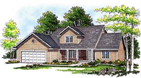 House Plan 97107 | Traditional Style Plan with 1864 Sq Ft, 3 Bedrooms, 3 Bathrooms, 2 Car Garage Elevation
