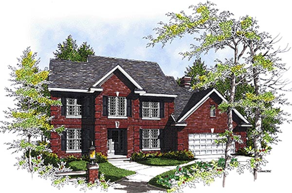 Colonial House Plan 97128 with 4 Beds, 4 Baths, 2 Car Garage Front Elevation