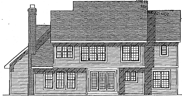 Colonial House Plan 97128 with 4 Beds, 4 Baths, 2 Car Garage Rear Elevation
