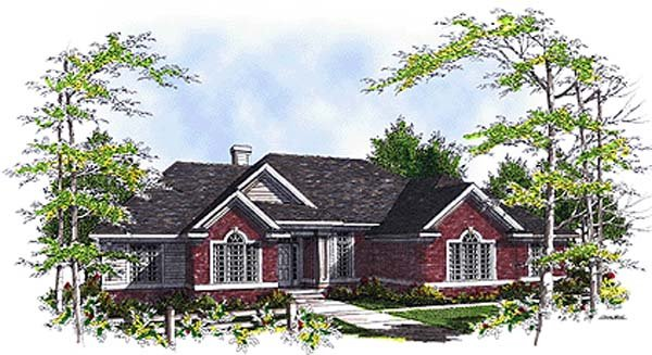 One-Story, Ranch, Traditional House Plan 97132 with 3 Beds, 3 Baths, 3 Car Garage Elevation