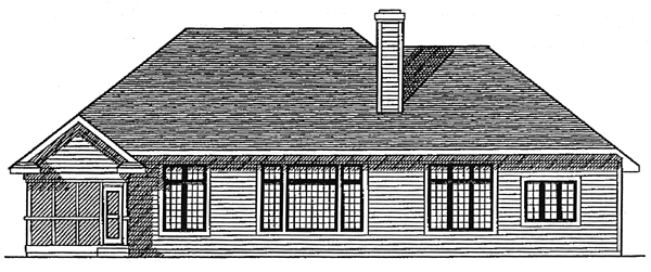 One-Story, Ranch, Traditional House Plan 97132 with 3 Beds, 3 Baths, 3 Car Garage Rear Elevation