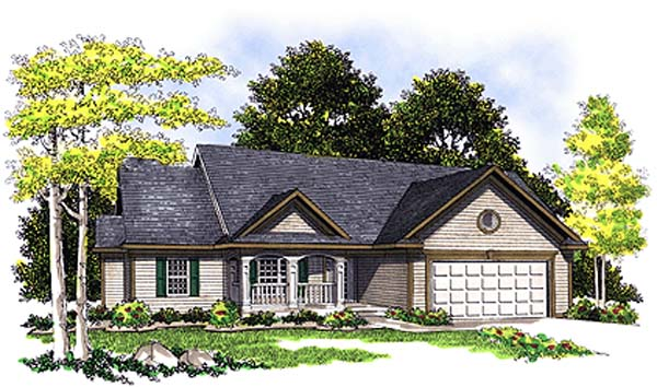 Ranch House Plan 97133 with 3 Beds, 2 Baths, 2 Car Garage Front Elevation