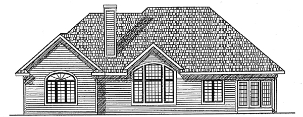 European , Country House Plan 97135 with 3 Beds, 2 Baths, 2 Car Garage Rear Elevation