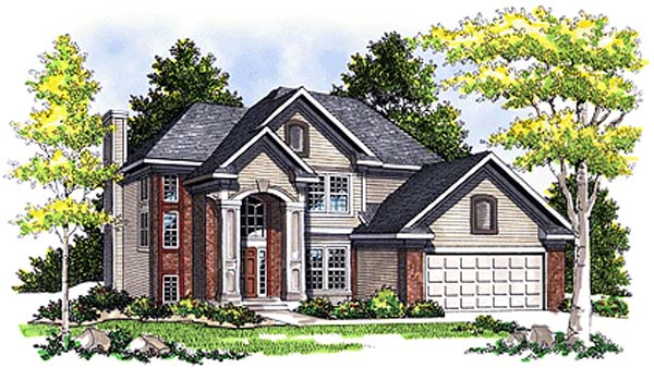 European House Plan 97138 with 4 Beds, 3 Baths, 2 Car Garage Elevation