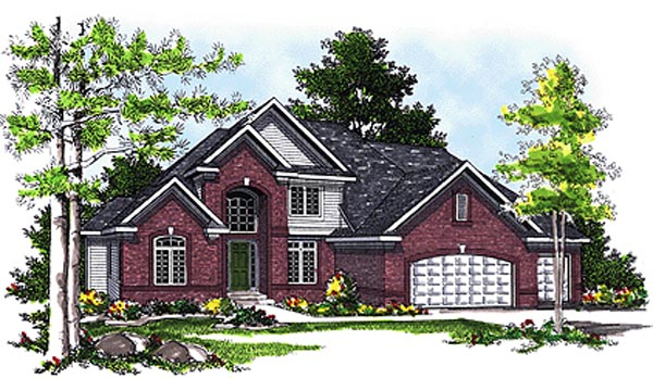 European House Plan 97140 with 4 Beds, 2 Baths, 3 Car Garage Elevation