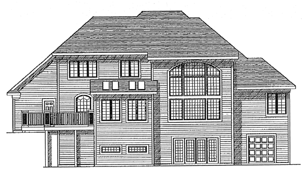 European House Plan 97140 with 4 Beds, 2 Baths, 3 Car Garage Rear Elevation