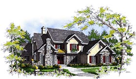 European Tudor House Plan 97141 Elevation