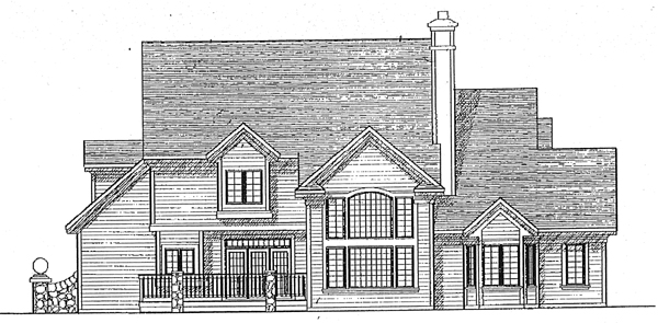 European Tudor House Plan 97141 Rear Elevation
