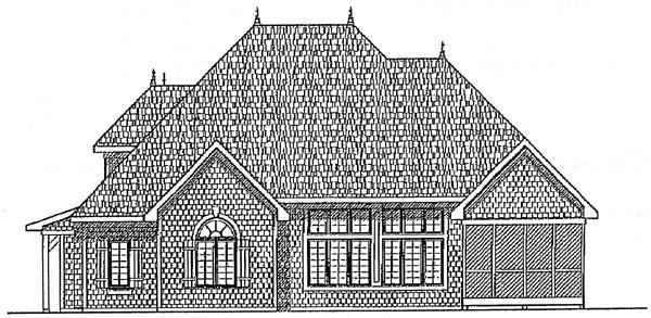 Bungalow European House Plan 97143 Rear Elevation
