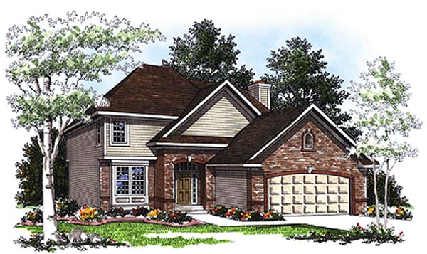 European House Plan 97146 with 4 Beds, 3 Baths, 2 Car Garage Front Elevation