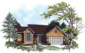 House Plan 97148 | Ranch Style Plan with 1370 Sq Ft, 3 Bedrooms, 2 Bathrooms, 2 Car Garage Elevation