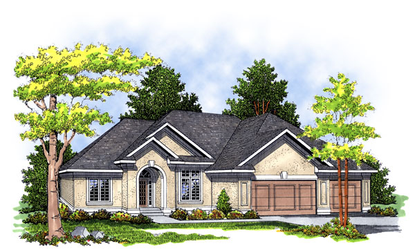 European House Plan 97151 with 3 Beds, 2 Baths, 2 Car Garage Elevation