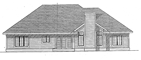 European House Plan 97151 with 3 Beds, 2 Baths, 2 Car Garage Rear Elevation
