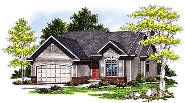 One-Story, Ranch House Plan 97152 with 3 Beds, 2 Baths, 2 Car Garage Front Elevation