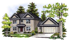 Colonial , European House Plan 97154 with 3 Beds, 3 Baths, 2 Car Garage Elevation