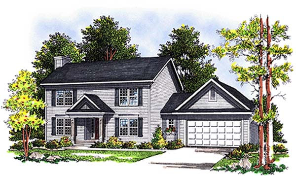 Colonial House Plan 97155 with 3 Beds, 3 Baths, 2 Car Garage Elevation