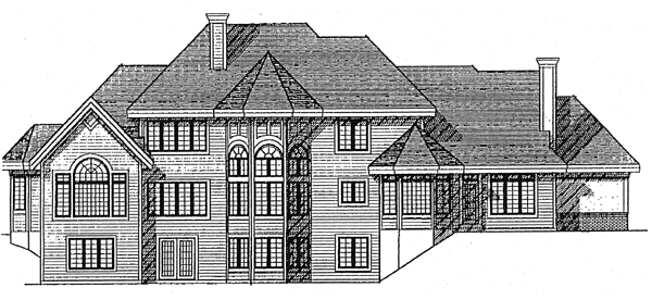European House Plan 97156 Rear Elevation