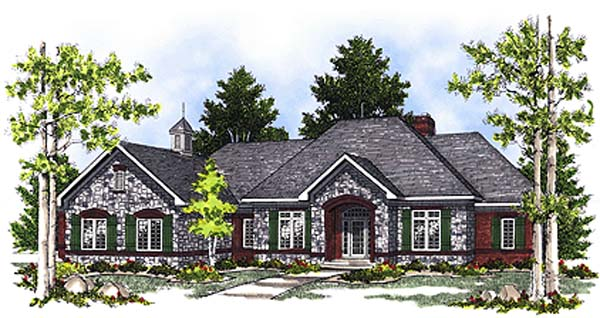 Bungalow , European House Plan 97164 with 2 Beds, 2 Baths, 3 Car Garage Elevation