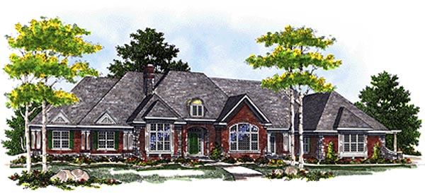 European House Plan 97167 with 3 Beds, 4 Baths, 3 Car Garage Elevation