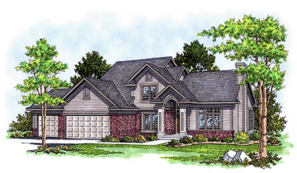 Traditional House Plan 97173 with 4 Beds, 3 Baths, 2 Car Garage Elevation