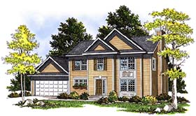 Colonial House Plan 97175 with 3 Beds, 3 Baths, 2 Car Garage Elevation