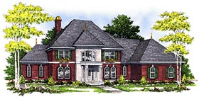 House Plan 97181 | Colonial European Style Plan with 3556 Sq Ft, 4 Bedrooms, 4 Bathrooms, 3 Car Garage Elevation