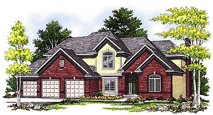 European House Plan 97182 with 4 Beds, 3 Baths Elevation