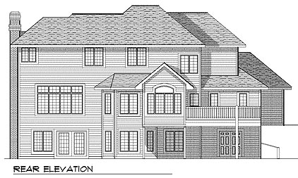 European House Plan 97182 with 4 Beds, 3 Baths Rear Elevation