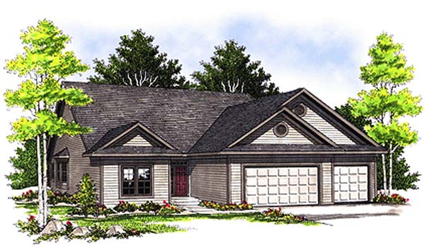 Ranch House Plan 97184 with 3 Beds, 2 Baths, 2 Car Garage Elevation