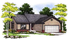 Ranch House Plan 97186 with 2 Beds, 2 Baths, 2 Car Garage Elevation