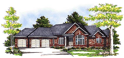 European , Traditional House Plan 97189 with 3 Beds, 2 Baths, 3 Car Garage Elevation