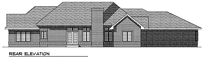 European , Traditional House Plan 97189 with 3 Beds, 2 Baths, 3 Car Garage Rear Elevation