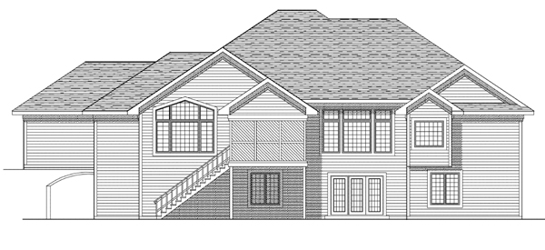 European House Plan 97197 with 4 Beds, 4 Baths, 3 Car Garage Rear Elevation