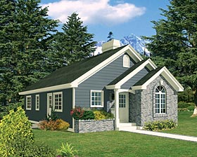Ranch , Traditional House Plan 97203 with 3 Beds, 1 Baths Elevation