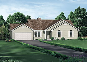 House Plan 97204 | Ranch Traditional Style Plan with 1605 Sq Ft, 3 Bedrooms, 2 Bathrooms, 2 Car Garage Elevation