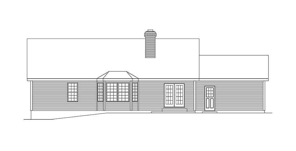 House Plan 97204 | Ranch Traditional Style Plan with 1605 Sq Ft, 3 Bedrooms, 2 Bathrooms, 2 Car Garage Rear Elevation