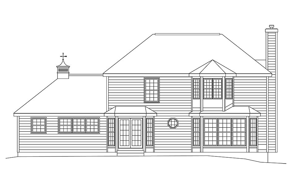 Colonial European Traditional House Plan 97206 Rear Elevation