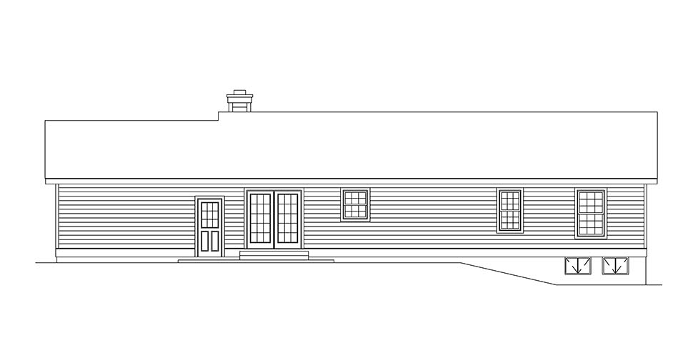 Ranch House Plan 97209 Rear Elevation