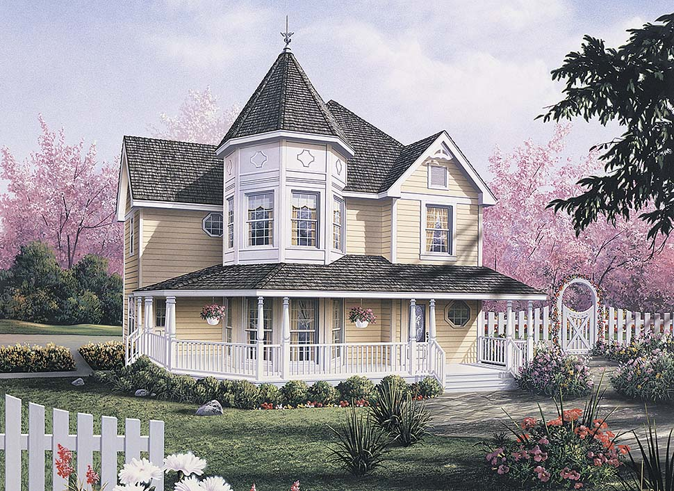 Farmhouse, Victorian House Plan 97212 with 3 Beds, 3 Baths, 2 Car Garage Elevation