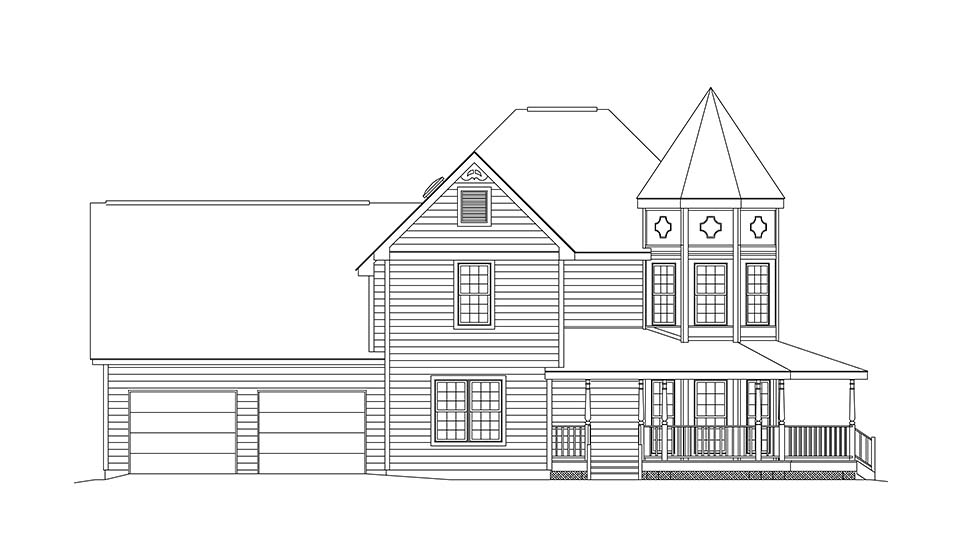 Farmhouse, Victorian House Plan 97212 with 3 Beds, 3 Baths, 2 Car Garage Picture 2