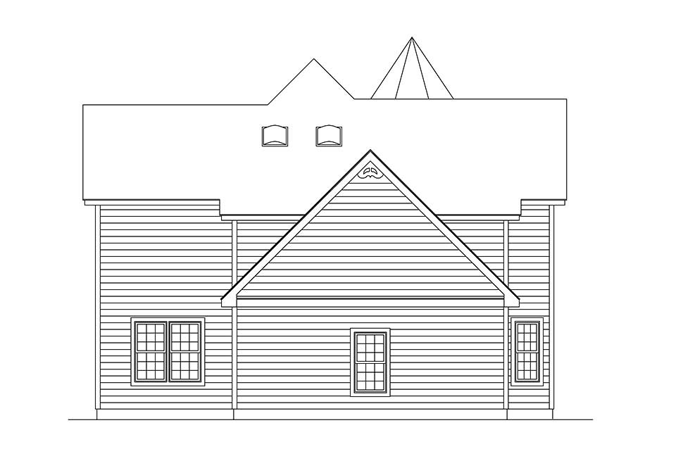 Farmhouse, Victorian House Plan 97212 with 3 Beds, 3 Baths, 2 Car Garage Rear Elevation